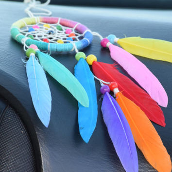 Rainbow Dream catcher, Multicolor Car Dream catcher, Rear View Mirror Charm, Car Accessory,  Car decor, Hematite Stone