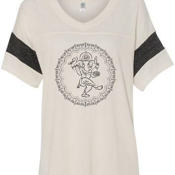 Womens Yoga T-shirt Circle Ganesha Black Print Eco-Friendly V-neck