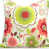 Floral Pillow Covers Lime Green Coral Red Brown Cream Modern Designer Decorative Pair 18x18