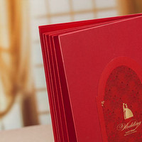 Red Wedding Guest Book Groom and Bride Design