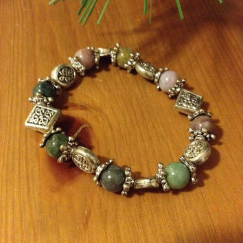 Charm Bracelet - Irish Celtic Charm Bracelet Vintage Green and Purple Gemstones Silver Celtic Designs