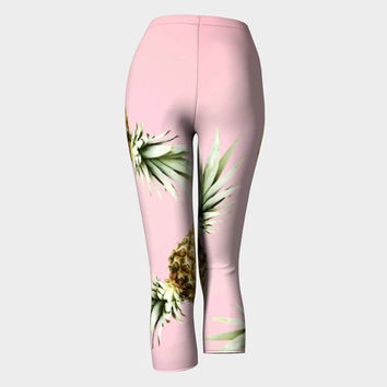 Pinky summer leggings Capris leggings with pineapple print