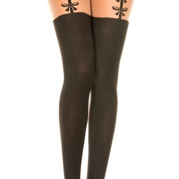 Opaque Pantyhose With Bow Suspenders