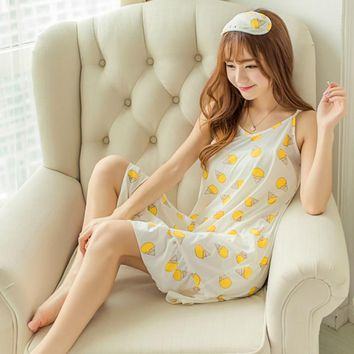 With Eyeshade Women Cartoon lemon Nightgown Sleep Lounge Dress Sleepwear Sexy V-Neck Dress Slim Home Clothes Nightwear M/L/XL