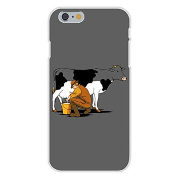 Apple iPhone 6 Custom Case White Plastic Snap On - 'Milking Out' Funny Man Milking Cow & Draining Color