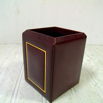 Burgundy Red Leather with Gold Metal Trim Square Desk Bin - Vintage Cordovan Top Grain Cowhide Office Decor Accessory Artisan Pen Pencil Cup