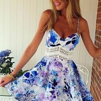 Blue White Black Purple Floral Spaghetti Strap V Neck Lace Trim Skater Circle A Line Flare Mini Dress