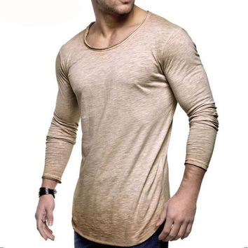 Slim Fit O Neck Long Sleeve Solid Muscle Tee Tops in Sizes S-3XL