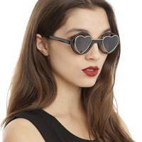 Black Silver Wire Heart Round Sunglasses