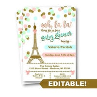 Paris Baby Shower Invitation pink mint gold teal baby shower editable template printable instant download confetti invite girl eiffel tower