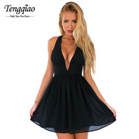 Pleated Chiffon Dress Prom Gown Black Mini Sexy Dress Club Wear Deep v Neck Graduation Short Mini Party Dress