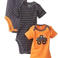 Gerber Baby-Boys Newborn 3 Pack Bodysuits, Monster Truck, 3-6 Months