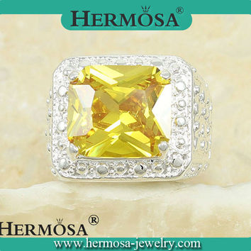 FREE SHIPPING 925 Sterling Silver Gorgeous Yellow Citrine Women Engagement Ring Trendy Band Ring IN STOCK A162 Size 7