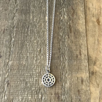 Heart Chakra Sterling Silver Chain Necklace
