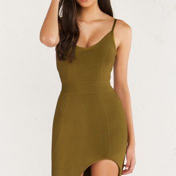 AKIRA BodyCon Bandage Dress With Side Slit Cutout in Olive
