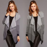 Women's Lapel Long Striped Knit Sweater Coat Jacket Cardigan Tops 2 Colors  F_F (Color: Black)