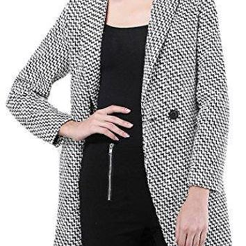 Pandapang Womens Casual One Button Lapel Tweed Wool Blend Trench Coat