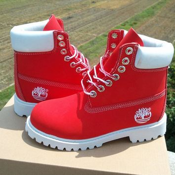 Timberland Rhubarb boots for men and women shoes waterproof Martin boots lovers red One-nice™