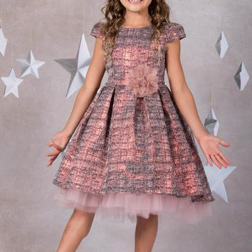 (Sale) Girls Size 7/8 Pink Brocade Fit & Flare Dress w. High Low Peek-a-Boo Tulle Skirt