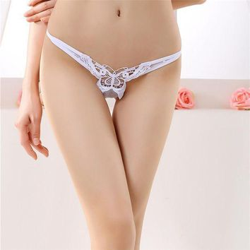 PEAPYV3 Personality women's underwear butterfly embroidery transparent sexy panties female lace temptation low-waist briefs