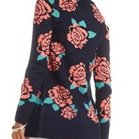 Floral Open Cardigan Sweater by Charlotte Russe - Navy Combo