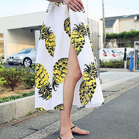 White Pineapple Pattern Slit A-Line Pleated Midi Skirt