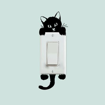 DIY Funny Cute Cat Switch Stickers Wall Stickers Home Decoration Bedroom Parlor Decoration
