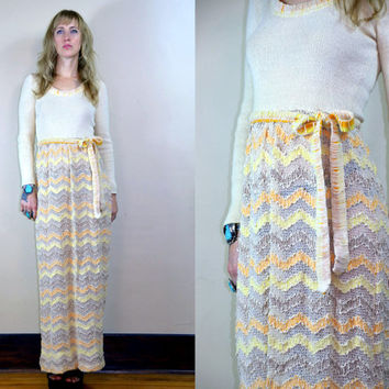 Vintage 70's Nordstrom Best Crochet & Pastels Beautiful Full Length Maxi Dress