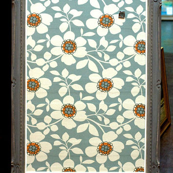 Fabric Covered Magnetic Board, Vintage Wood Frame, Hand-painted Grey Chalk Paint