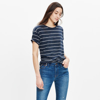 Whisper Cotton Crewneck Tee in Vancouver Stripe