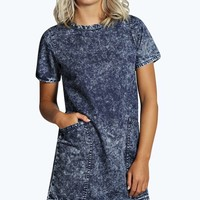 Trudi Acid Wash Shift Dress