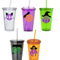 Halloween monogram acrylic cups!! Halloween party favors, Halloween teacher gift, Halloween insulated cups