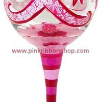 Pink Ribbon Floral Hand-Painted Wine Glass