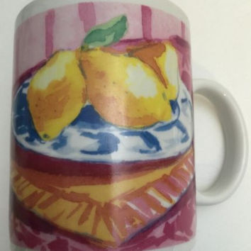 Starbucks Original Ceramic Coffee Mug 1995 Jackal Designs Breakfast Series Cup