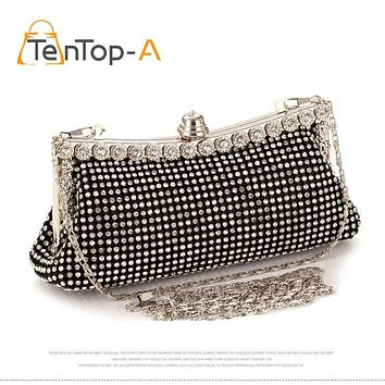 TenTop-A Women's Diamond Clutch Bags Punk Dumpling Shape Full Diamonds Shoulder Chain Evening Bags Party Purse Black/Gold/Silver