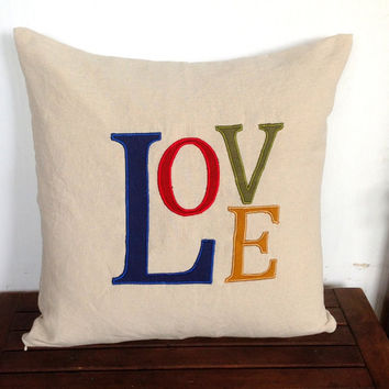 Valentine Unique Gifts, Love Valentine Gifts, Monogrammed Pillow Love, Love Pillows, Navy Blue, Red, Green, Yellow 18x18