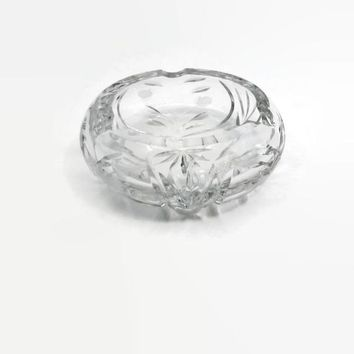Cut Crystal Ashtray Hand Cut Retro Ornate Lead Crystal Dish Ashtray