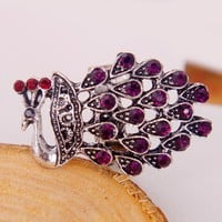 Adjustable Rhinestone Silver Peacock Cocktail Animal Ring at Online Jewelry Store Gofavor