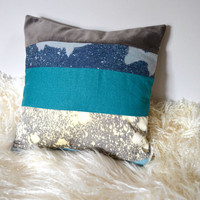 Blue Teal Colorblock Stripe Pillow - Nautical, Hand Dyed, Ombre, Fish, Galaxy, Recycled Fabric, 14x14 Pillow Cover