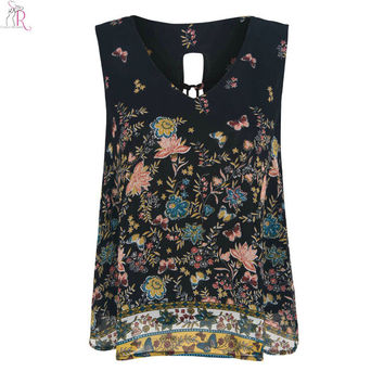 Black Floral Chiffon Vest Tied Back Sexy Loose Sleeveless Slit Casual V Neck Top 2016 Women Summer