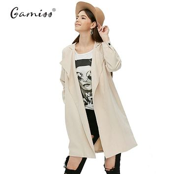 Gamiss Women Trench Coat Spring Female Euro Style Designers Coat Casual Street Vogue Fashion Classic Plus Size Women Silm Coats