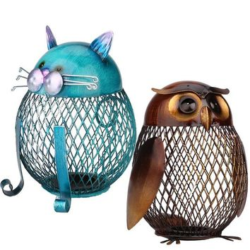 2Pcs/set Owl Money Box Cat Bank Animal Coin Box Iron Art Ornament Handcraft Piggy Bank Home Decoration Accessories
