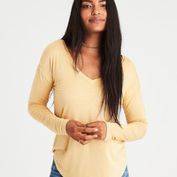 AE Soft & Sexy Long-Sleeve Favorite T-Shirt, Golden