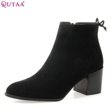 QUTAA 2018 New Women Fashion Ankle Boots Pointed Toe Zipper Square High Heel Cow Suede All Match Women Boots Size  34-39