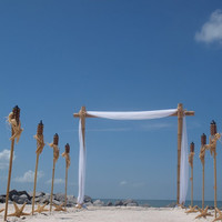 Bamboo Beach Wedding Arch And Starfish Tiki Aisle Way Decorating Kit for Beach Weddings