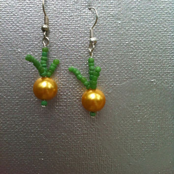 Golden Onion Pearl Earrings Free Shipping