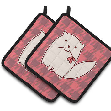 Cat Pink Plad Pair of Pot Holders BB6854PTHD
