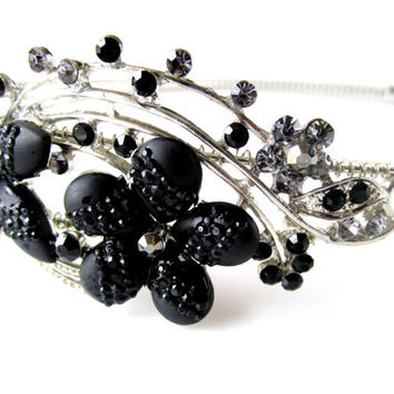 Fascinator Head Band Black Flower Blooms With Rhinestones Headband Vintage Collectible Gift Item 1584