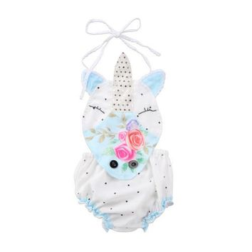 Newborn Baby Girl Unicorn Flower Dot Romper Strap Jumpsuit Party Clothes Sunsuit