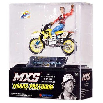 TRAVIS PASTRANA COLLECTOR SERIES HISTORICAL REPLICA JAKKS PACIFIC MOTOCROSS SUPERCROSS ACTION FIGURE with TOY DC SHOES SUZUKI RM250 MX MOTO